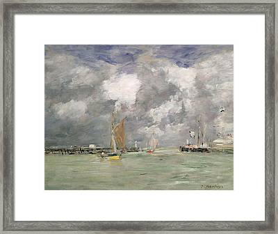 High Tide At Trouville Framed Print by Eugene Louis Boudin