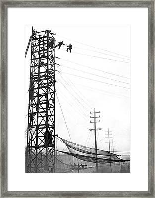 High Wire Suicide Rescue Framed Print by Underwood Archives