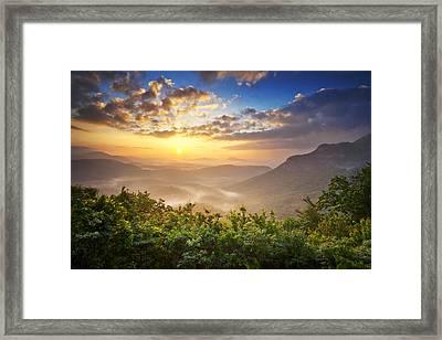 Highlands Sunrise - Whitesides Mountain In Highlands Nc Framed Print by Dave Allen