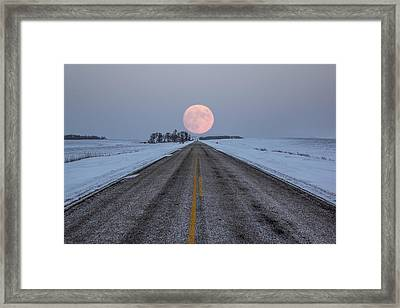 Highway To The Moon Framed Print by Aaron J Groen