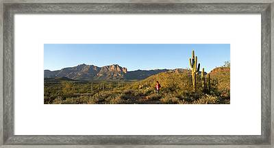 Hiker Standing On A Hill, Phoenix Framed Print by Panoramic Images