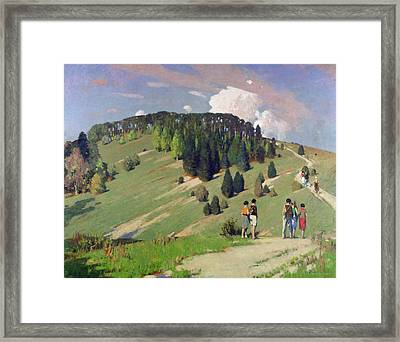 Hikers At Goodwood Downs Framed Print by George F. Henry