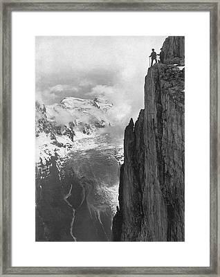 Hikers In The Alps Framed Print by Underwood Archives