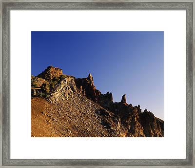 Hillman Peak Crags At Sunrise, Crater Framed Print by Panoramic Images