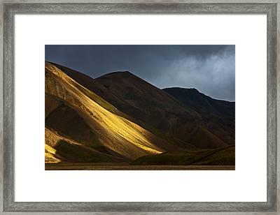 Hills At Sunset Landmannalaugar Framed Print by Heike Odermatt