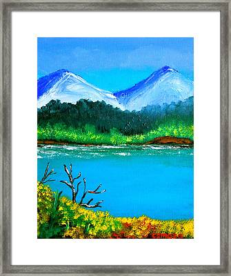 Hills By The Lake Framed Print by Cyril Maza