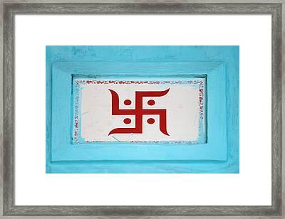 Hindu Symbol, Swastika, Varanasi, India Framed Print by Keren Su