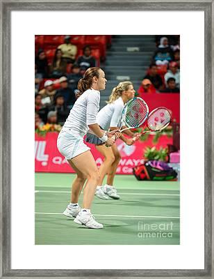 Hingis And Kirilenko In Doha Framed Print by Paul Cowan