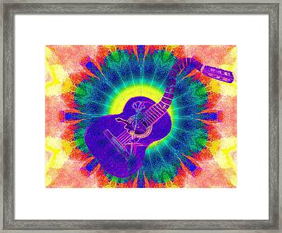 Hippie Guitar Framed Print by Bill Cannon