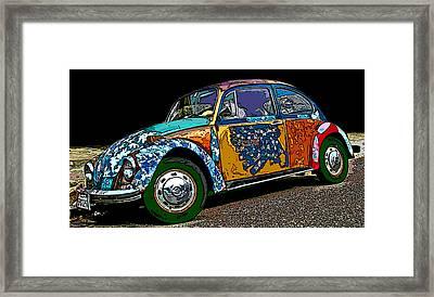 Hippie Vw Bug Framed Print by Samuel Sheats