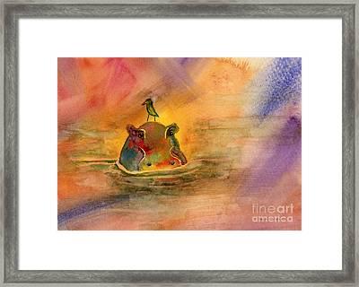 Hippo Birdie Framed Print by Amy Kirkpatrick