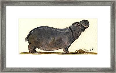 Hippo Happy Framed Print by Juan  Bosco