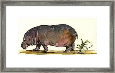 Hippo Framed Print by Juan  Bosco