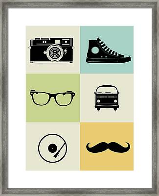 Hipster Mix Poster Framed Print by Naxart Studio