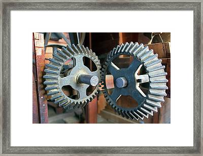 Historic Flour Mill Cogs Framed Print by Jim West