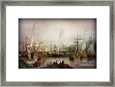 Historic Gloucester - Uk Circa 1840 Framed Print by Lianne Schneider
