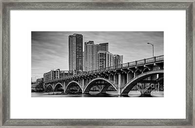 Historic Lamar Boulevard Bridge In Black And White - Austin Texas Hill Country Framed Print by Silvio Ligutti