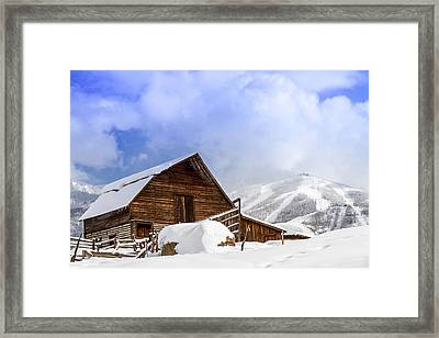 Historic Steamboat Springs Barn And Ski Area Framed Print by Teri Virbickis