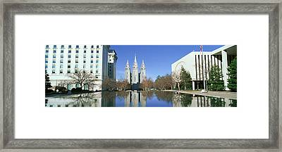 Historic Temple And Square In Salt Lake Framed Print by Panoramic Images