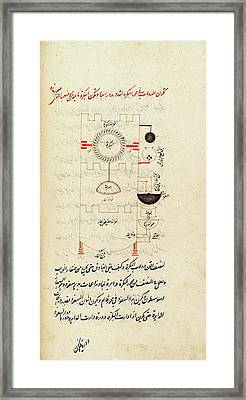 Historical Arabic Water Clock Framed Print by Spencer Collection /new York Public Library