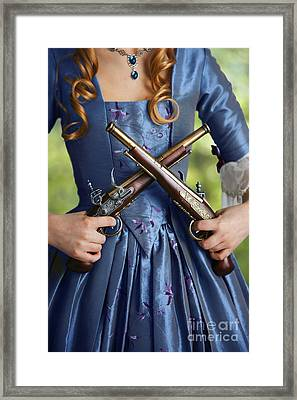Historical Woman Holding Two Flintlock Pistols Framed Print by Lee Avison