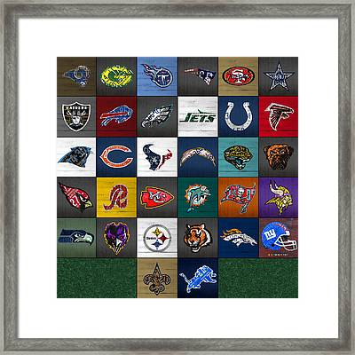 Hit The Gridiron Football League Retro Team Logos Recycled Vintage License Plate Art Framed Print by Design Turnpike