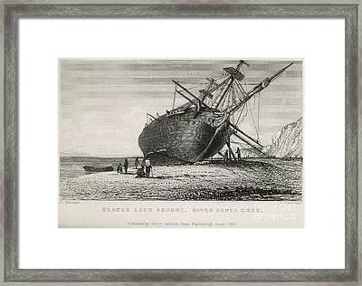 Hms Beagle Laid Ashore, River Santa Framed Print by British Library