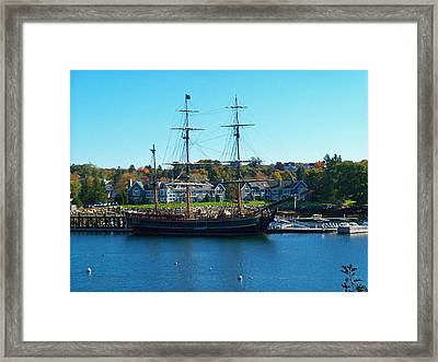 Hms Bounty Tied Down Framed Print by Nancy  Pillers