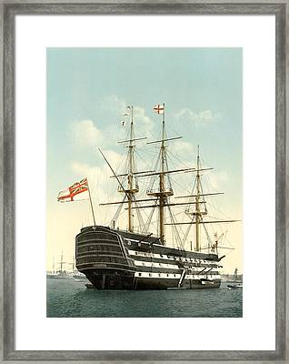 Hms Victory, Portsmouth, 1890s Framed Print by Science Photo Library