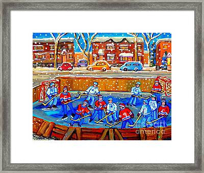 Hockey Art Collectible Cards And Prints Snowy Day  Neighborhood Rinks Verdun Montreal Art C Spandau Framed Print by Carole Spandau