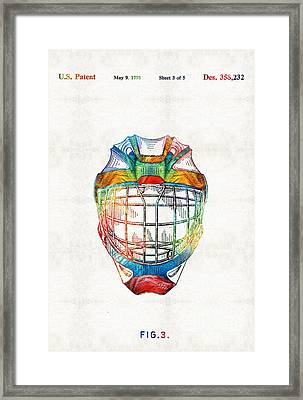 Hockey Art - Goalie Mask Patent - Sharon Cummings Framed Print by Sharon Cummings