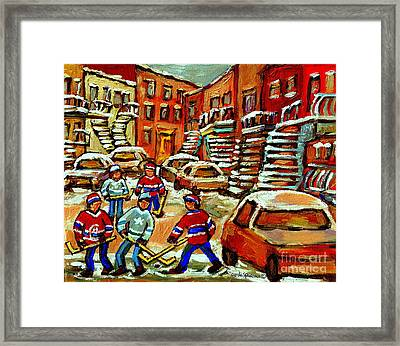 Hockey Art Home Team Advantage Streets Of Montreal Paintings Of Verdun Winter City Scenes  Framed Print by Carole Spandau