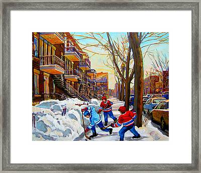 Hockey Art - Paintings Of Verdun- Montreal Street Scenes In Winter Framed Print by Carole Spandau