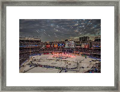 Hockey At Yankee Stadium Framed Print by David Rucker