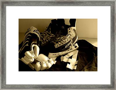 Hockey Black And White Framed Print by John Turner