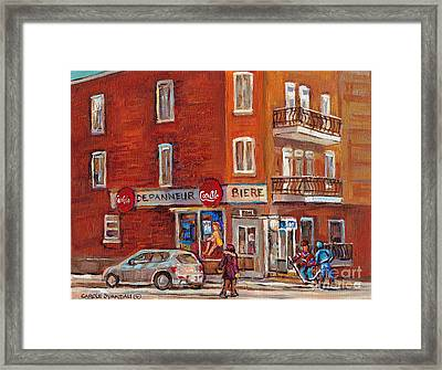 Hockey Game At Corner Store-montreal Depanneur-city Scene Painting-carole Spandau Framed Print by Carole Spandau