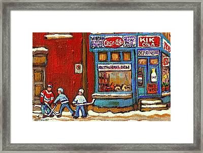 Hockey Game At The Corner Kik Cola Depanneur  Resto Deli  - Verdun Winter Montreal Street Scene  Framed Print by Carole Spandau