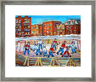 Hockey In The City Ndg Outdoor Hockey Rink Neighborhood Kids Bring Montreal Memories To Life Framed Print by Carole Spandau