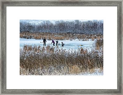 Hockey Joy Framed Print by Kathy Bassett