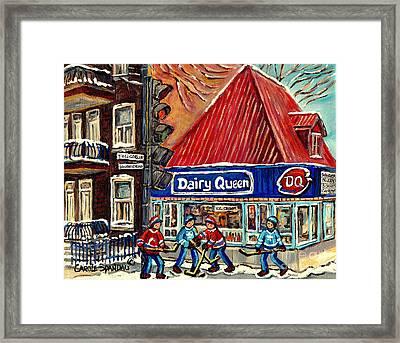 Hockey Near The Ice Cream Shop In Verdun Montreal Paintings By Carole Spandau Framed Print by Carole Spandau