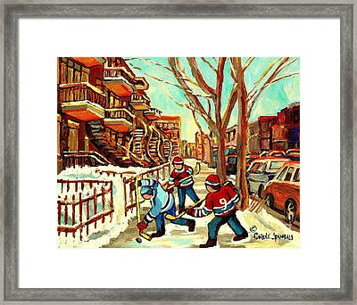 Hockey Paintings Verdun Streets And Staircases  Winter Scenes Montreal City Scene Specialist   Framed Print by Carole Spandau