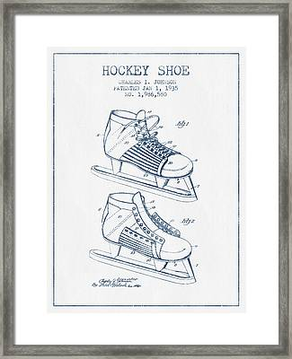 Hockey Shoe Patent Drawing From 1935- Blue Ink Framed Print by Aged Pixel