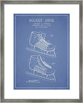 Hockey Shoe Patent Drawing From 1935 - Light Blue Framed Print by Aged Pixel