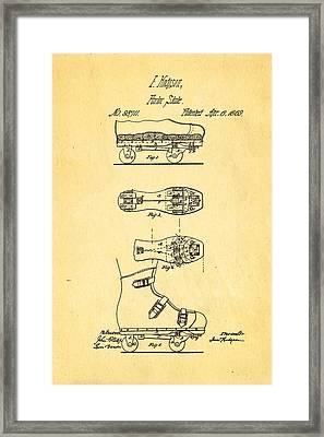 Hodgson Roller Skate Patent Art 1869 Framed Print by Ian Monk