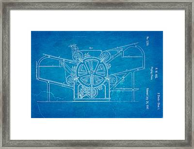 Hoe Printing Press Patent Art 1847 Blueprint Framed Print by Ian Monk