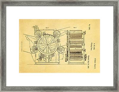 Hoe Printing Press Patent Art 2 1847  Framed Print by Ian Monk