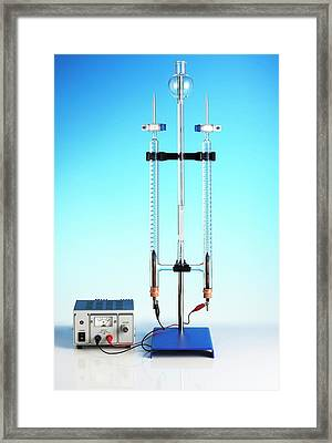 Hoffman Voltameter For Electrolysis Framed Print by Science Photo Library