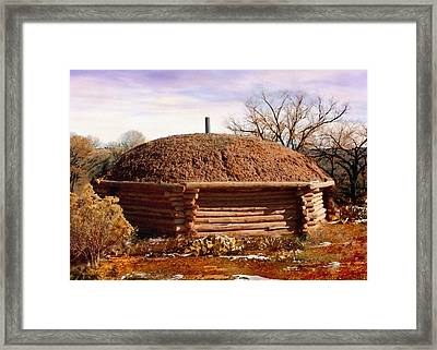 Hogan Monument Valley Winter Painting Framed Print by Bob and Nadine Johnston