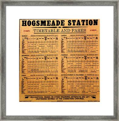 Hogsmeade Station Timetable Framed Print by David Lee Thompson