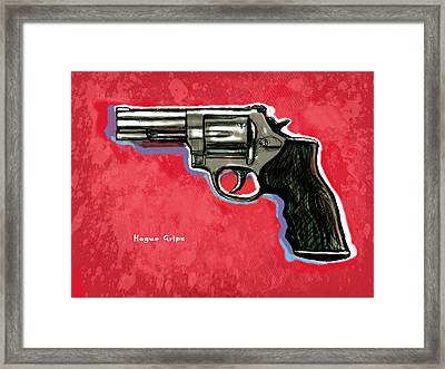 Hogue Grips Hang Gun - Stylised Art Drawing Sketch Framed Print by Kim Wang